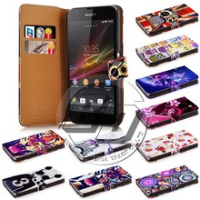 wallet printed pu leather flip back cover case for sony xperia zr m36h dogo c5502 c5503