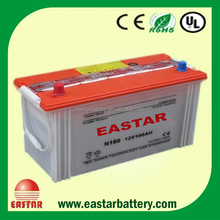 2015 new JIS Standard N100 12v 100ah dry charged car battery for electric car