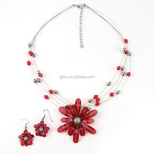 Fashionable Resin Red Flower Statement Necklace Bijou Jewelry GN12336