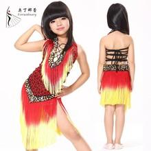 Baile latino vestido del funcionamiento para los niños niño ropa de baile latino vestido de desgaste de la danza ropa