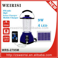 Multi-function rechargeable solar camping lantern with radio, MP3 and USB mobile charger