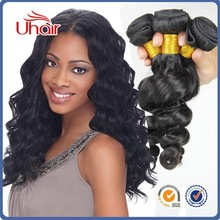Best selling new style no sheding and tangle free natural black virgin human loose wave hair extensions