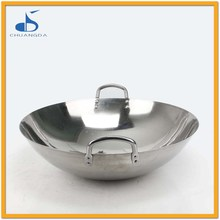 Stainless steel Chinese Style Large Wok Cooking Pan Double Handle Fry Pan