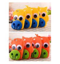 Korea Cute 3D cartoon Big eyes animal cow/yellow duck/monkey/Owl soft silicone Shockproof earphone Winder Case For Iphone 5 5s 6
