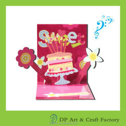 Wholesale birthday cake 3d pop up greeting card with cheap price