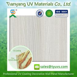 2015 New tech UV painting fiber cement board wood grain color interior wood wall board