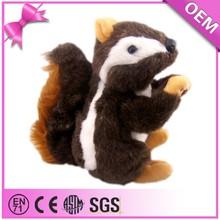 Hot sale lifelike Black With White Long Plush Fluffy Plush Squirrel