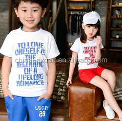 fa1563 2015 wholesale fashion hot sale new summer cotton korea T-shirt+pants boys girls clothes set