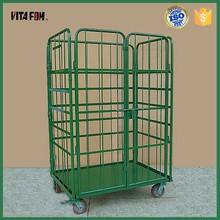 Large Warehouse Steel Storage Colorful Foldable Wheeled cage