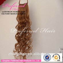 Fashionable Style 14# 20'' French Curly 100% Brazilian Hair Ponytail With Wholesale Prices Accept Escrow Payment