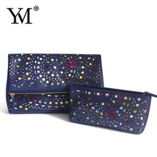 2015 promotional dark blue pu bulk plain makeup modella travelling floral cosmetic bag for lady