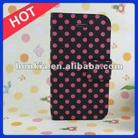 2012 The Newest Arrival High Quality Polka Dot Leather Case for IPhone 5 Case
