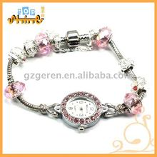 Colorful Crystal Bead Alloy Quartz Watch _ 030580