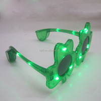 ST Patrick's day Shamrock Shaped Green LED Glitter Sunglasses