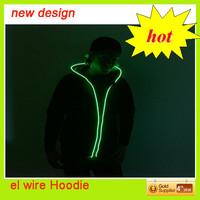 2015 hot selling led glow hoodie/illuminated el hoodie/neon green hoodies