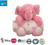 personalized high quality plush toys with blanket/ plush elephants with blanket