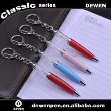 short mini 2 in 1 crystal pen with keychain pendant metal ballpoint pen