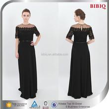 2015 Latest Design Elegant Black Lace Short Sleeve Homecoming Dresses