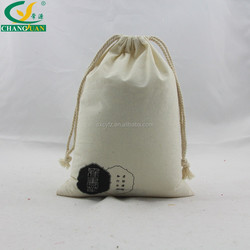 blank cotton muslin bag with double drawstring