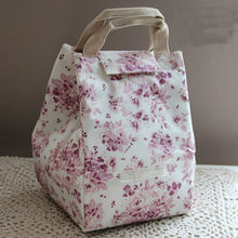 Floral Canvas Insulated Cooler Bag Fabric Lunch Tote Bag Wholesale