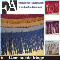 2015 wholesale handmade brush white black brown color 14cm suede leather fringe trim for garment accessories