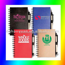 hardcover recycle paper note book with pen holder-HYHB007