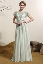 Venta al por mayor por encargo siduo 80163 la longitud del piso vestido de noche/apliques vestido de fiesta con cordón
