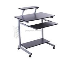 mobile computer desk with wheels pullout keyboard black office MDF
