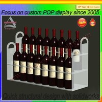 Wall Mounted Acrylic Two Tiers Red Wine Display Shelf For Bars Or Family Use
