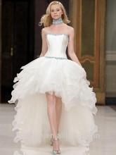más nuevo vestido blanco corto y largo delantero espalda gasa sin mangas