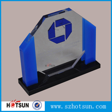 Blue Acrylic wholesale trophy with customized brand