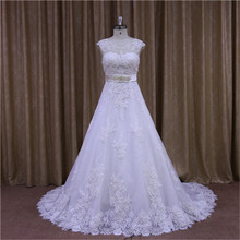 real pictures of strapless bling white wedding dress golden ribbon