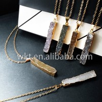 New!! Long raw druzy agate necklace in natural color, 24K gold electroplated stone druzy necklace WT-N195