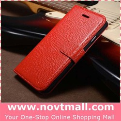 2015 100% Cow Leather Cell Phone Cover For Iphone 6 Flip Case With 4.7 Inch Litchi Skin