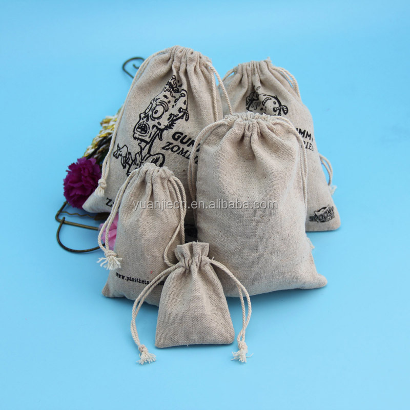 Cheap customized eco drawstring jute bag for halloween gift