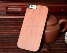 Low price china mobile phone ultra thin PC+Wood Bamboo Wooden cover for iphone 6 wood case made in china