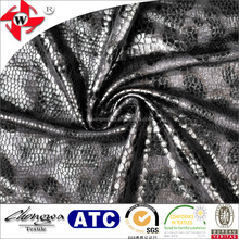 Black Snake Skin Embossed Leather Fabric/Faux Leather Fabric for Making Bags