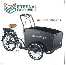 CE electric cargo bike tricycle 3 wheels electric bisikle 36V family electric cargo tricycle bike / cargobike / bakfiets UB9031E