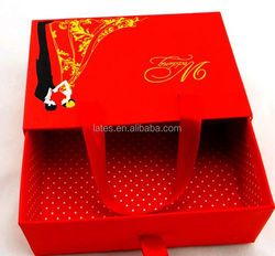 China supplier paper wedding gift box, red wedding favor paper box wholesale