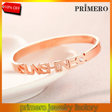 Fashion 18K rose gold plated titanium steel sunshine name bangle bracelet decorated