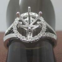 Round cut 6.0mm Center 14K 585 Solid White Gold 0.12ct Diamond Semi-Mount Ring