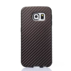 Carbon Fibre Line PU Silicone Soft Case For Samsung Galaxy S6 Edge