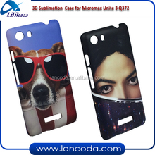 india market good sales 3D sublimation phone cover mobile for Micromax Unite 3 Q372 blank phone cases for sublimation printing