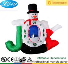 DJ-194 New JOY blue hat with snowflake inflatable airblown christmas felt decoration snowman