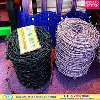 2mm green plastic coated barbed wire