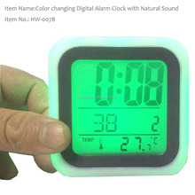 7 LED Color Changing Digital Alarm Clock with Nature Sound