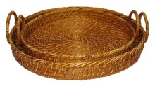 Round rattan tray, brown rattan baskets wholesale for 2015
