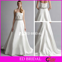 A Line Strapless Straight Across Ruffle Top Court Train Satin Crystal Belt Wedding Dress Beading Patterns