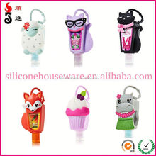 2015 new arrive animal hand sanitizer in silicone holders with key