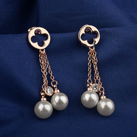 2012 Solid 18k Gold plated Natural Diamond earring of pearl Dangle Earrings factory china